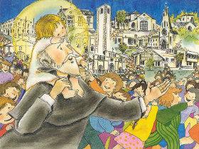 calasanz-con-ninios-en-la-ciudad_dibujo